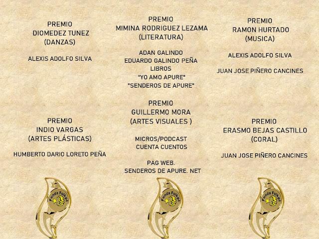 """APURE: Fundación Folklórica """"Pijiguao"""" premio a periodista, historiador, músico, pintor, danza y medio en San Fernando."""