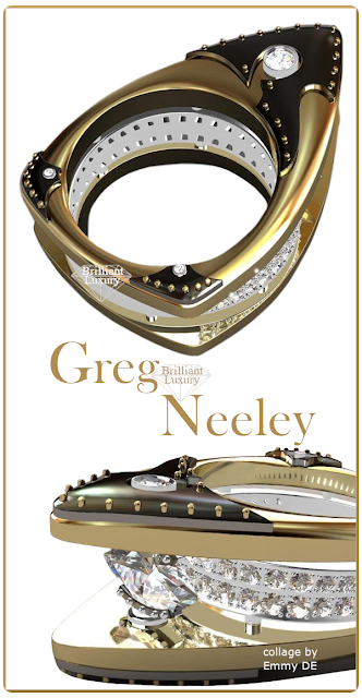 Greg Neeley Floating Marquis Black Night Ladies Diamond Ring #jewelry #brilliantluxury