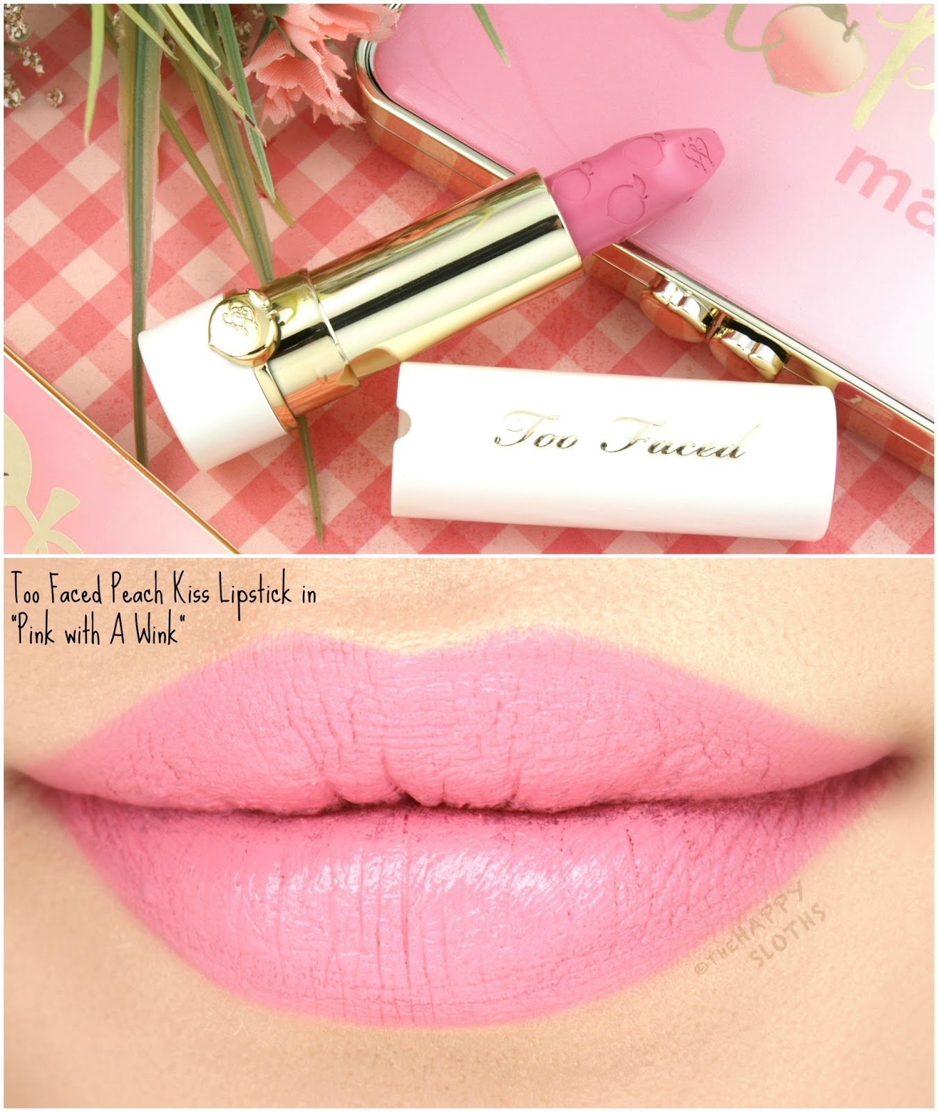 "Too Faced Peach Kiss Moisture Matte Long Wear Lipstick in ""Pink with A Wink"": Review and Swatches"