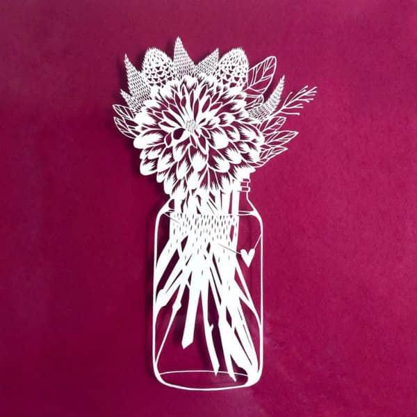papercut bloemenvaas