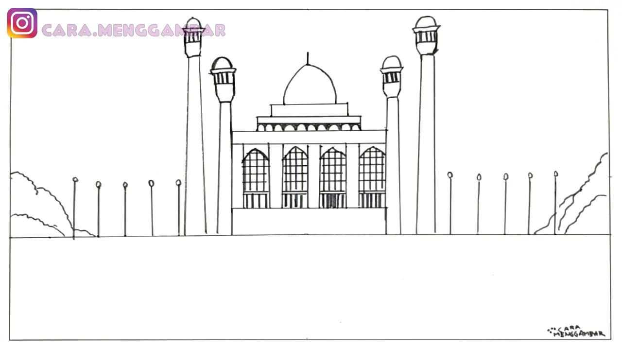 Cara Menggambar Masjid Mudah