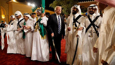 "Donald Trump lavishly praised on the ""magnificent"" kingdom and ""the grandeur of this remarkable place."""