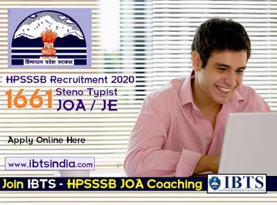 HPSSSB Recruitment 2020: 1661 Steno Typist Jr Office Assistant