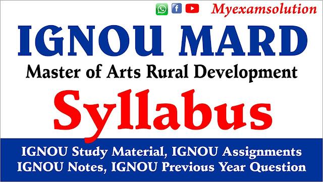 IGNOU MARD Syllabus , MARD ADMIT CARD, MARD STUDY MATERIAL