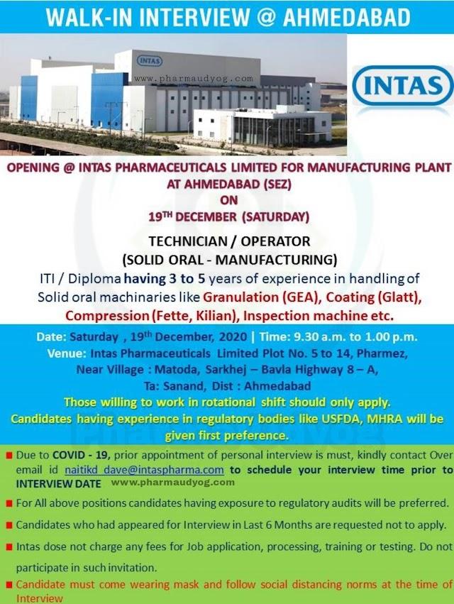 Intas Pharma | Walk-in interview for OSD-Technician/Operators on 19th Dec 2020