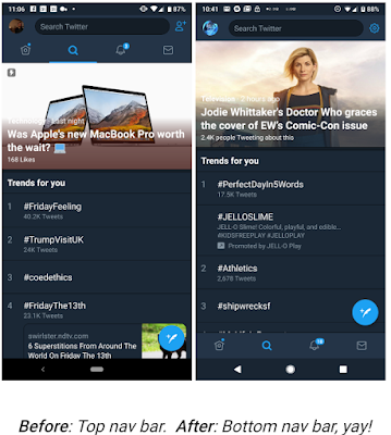 qFinally, Twitter Rolls out bottom Navigation Bar to all Android Users