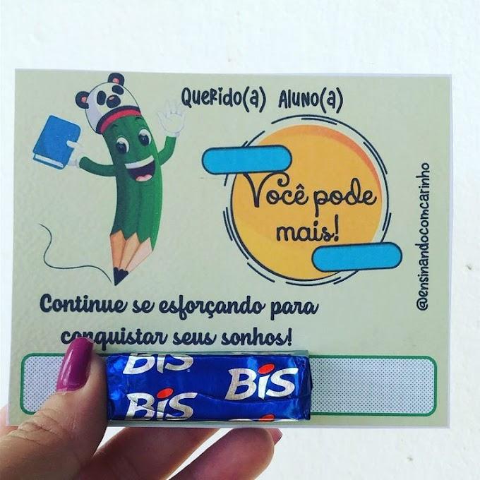 """Cartão de incentivo para alunos pela dedicação nas aulas """"Você pode Mais"""""""