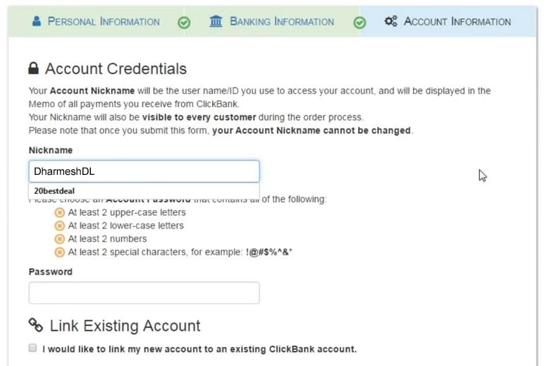 Clickbank par banking information fill kare