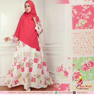 Satu Set Gamis Monalisa Plus Khimar Bubblepop Red