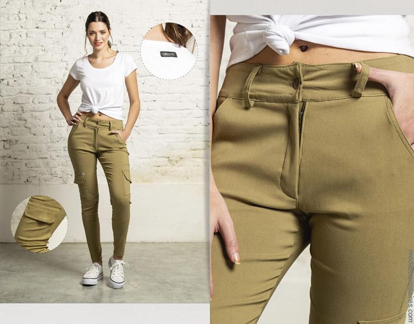 Moda primavera verano 2020 pantalones cargo de colores para mujer.