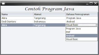 Contoh program java untuk menambahkan JComboBox ke dalam JTable