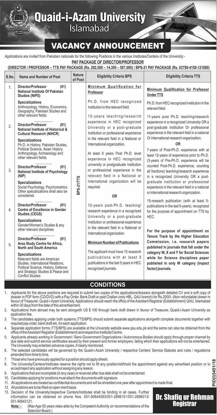 Advertisement of Quaid-i-Azam University Islamabad Jobs