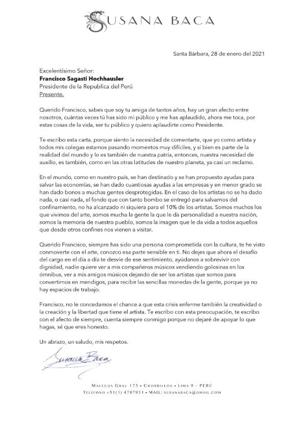 """Susana Baca pide al presidente Sagasti """"ayudanos a sobrevivir con dignidad"""""""