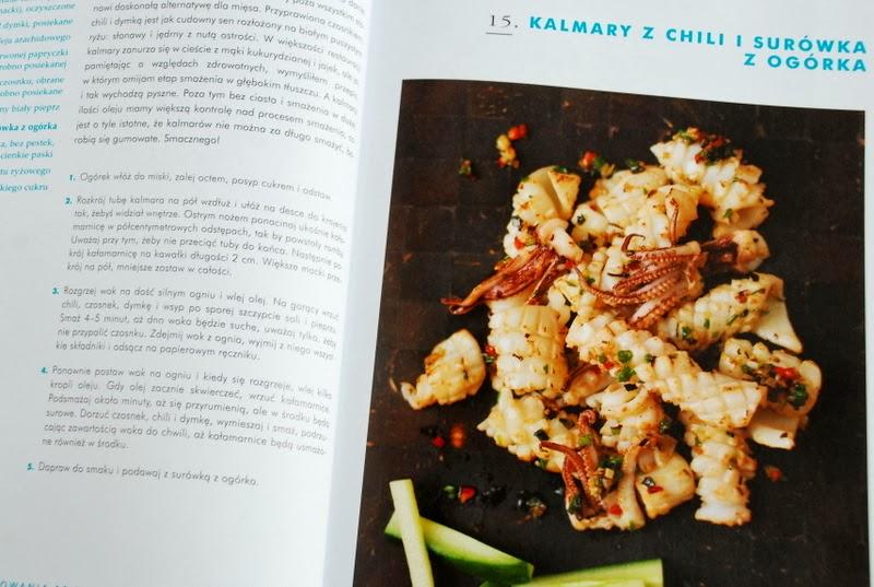 Kalmary z chili i surówka z ogórka
