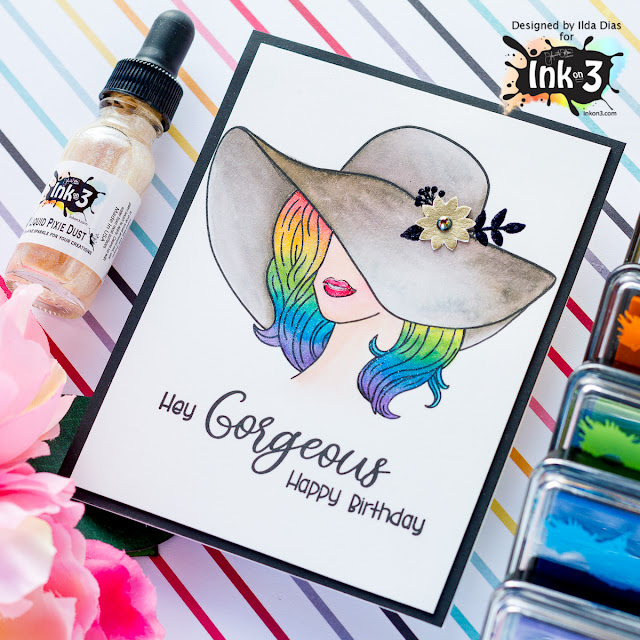 Hey Gorgeous, Colorful Birthday Card | Ink On 3 | Coloring with Atelier Inks