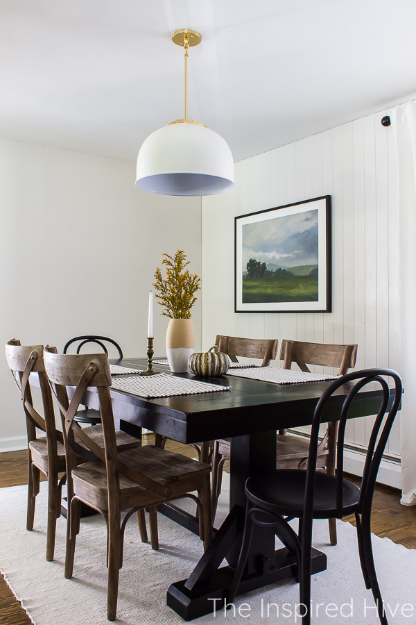 Modern farmhouse dining room with simple fall centerpiece
