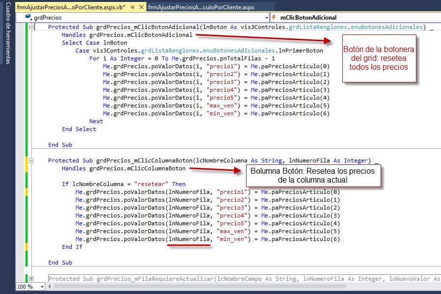 Código Complemento: Eventos de los Botones del Grid - Archivo VB - Programación de Complementos para eFactory ERP/CRM, Contabilidad y Nómina