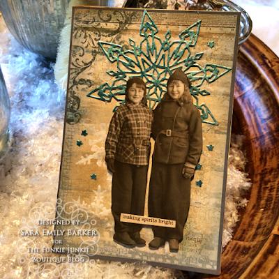 Sara Emily Barker https://sarascloset1.blogspot.com/2019/12/quick-christmas-cards-with-tim-holtz.html Mixed Media Christmas Cards #timholtz #stamperia 10