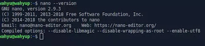cek versi nano teks editor