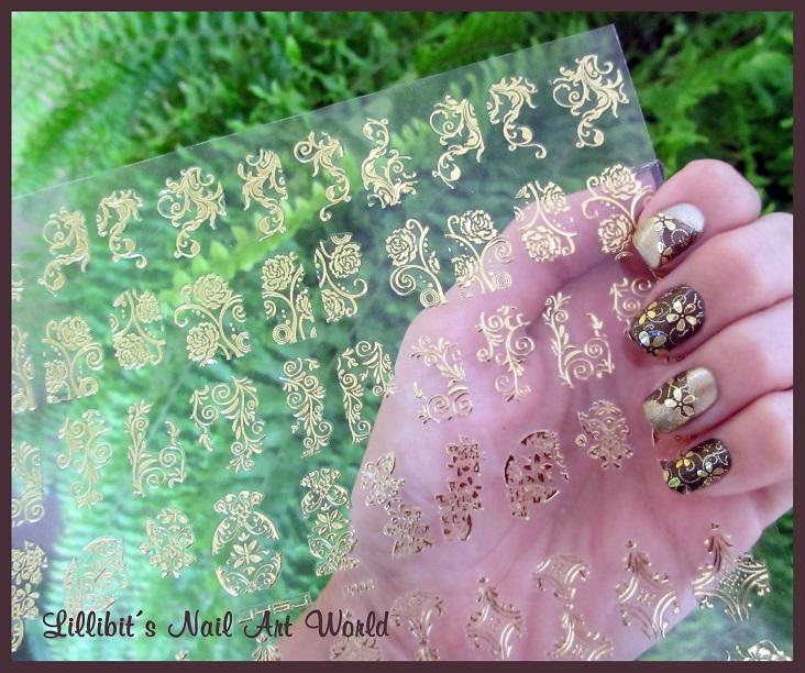 Lillibit´s Nail Art World: Pegatinas de flores doradas de Born ...
