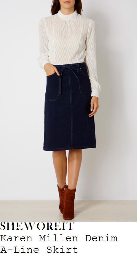 holly-willoughby-karen-millen-dark-indigo-blue-high-waisted-tie-belt-detail-a-line-denim-skirt