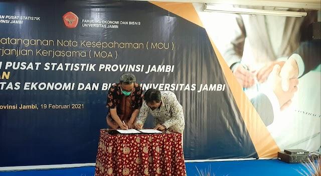 Perjanjian Kerjasama Antara BPS Jambi Dengan Fakultas Ekonomi dan Bisnis Unja Ditandatangani