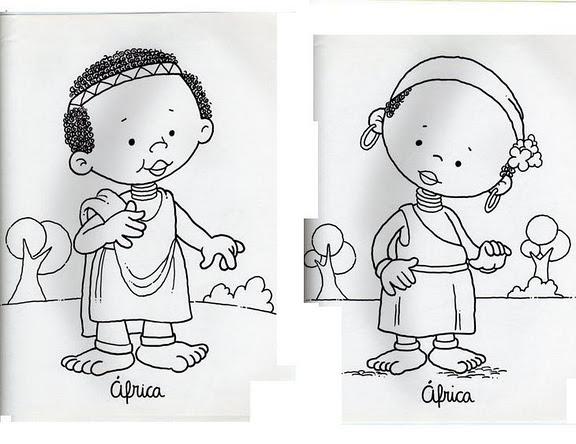 Imagenes De Niños De Distintas Razas: Niños De Diferentes Razas Para Colorear