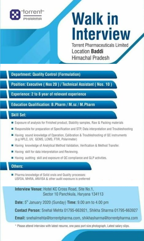 TORRENT PHARMA - Walk-In Interview for Multiple Positions (30 Positions) on 5th Jan' 2020