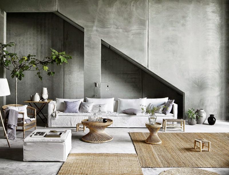 Home Essentials Industrial Living Room Indoor Plants Large Couch Wicker Accessories