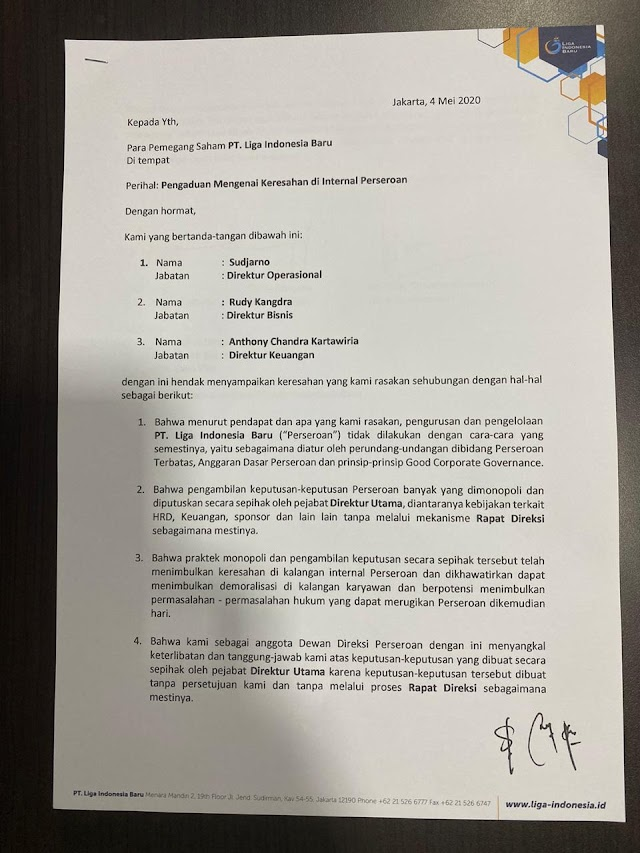 Tiga Direksi Ajukan Mosi Tidak Percaya Pada Direktur Utama LIB