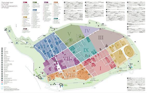 Mapa de Pompeya, las ruinas de la ciudad romana