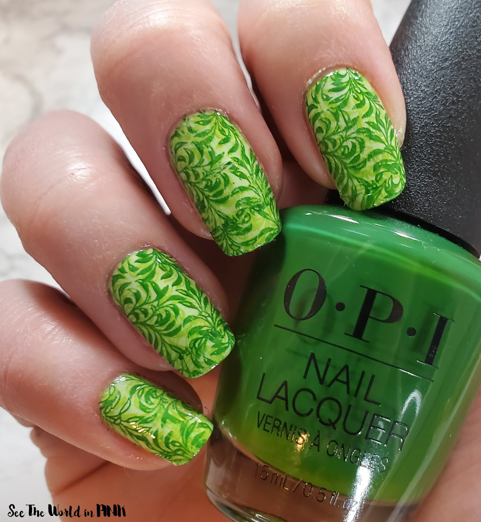 Manicure Monday - Green Foliage Stamped Nails