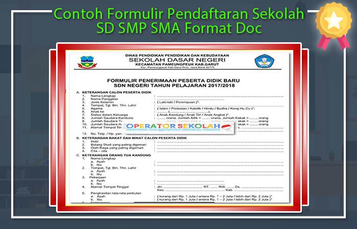 Formulir Pendaftaran Siswa Baru 2017 2018 Sd Smp Sma