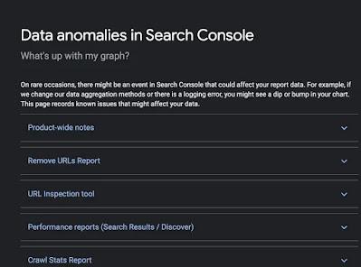 لقطة شاشة من صفحة  Data anomalies in Search Console بالإصدار الغامق على مركز مساعدة مشرفي المواقع