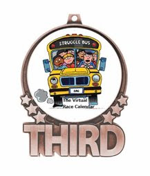 the struggle bus run 5k 10k half marathon the virtual race calendar school bus third place medal