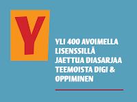 Tekstikyltti, missä lukee: YLI 400 AVOIMELLA LISENSSILLÄ JAETTUA DIASARJAA TEEMOISTA DIGI & OPPIMINEN.