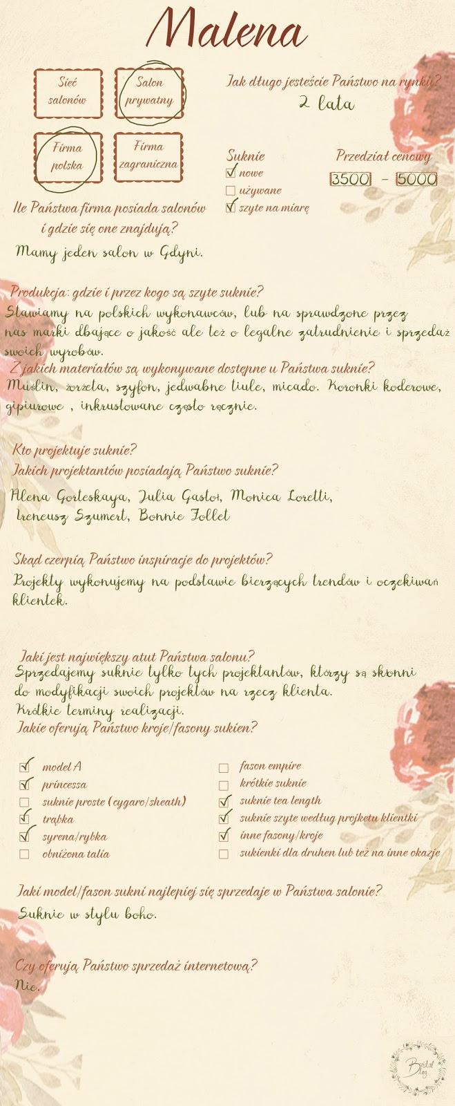 Formularz przedstawiający odpowiedzi na pytania dotyczące salonu sukien ślubnych. Salon: Malena.