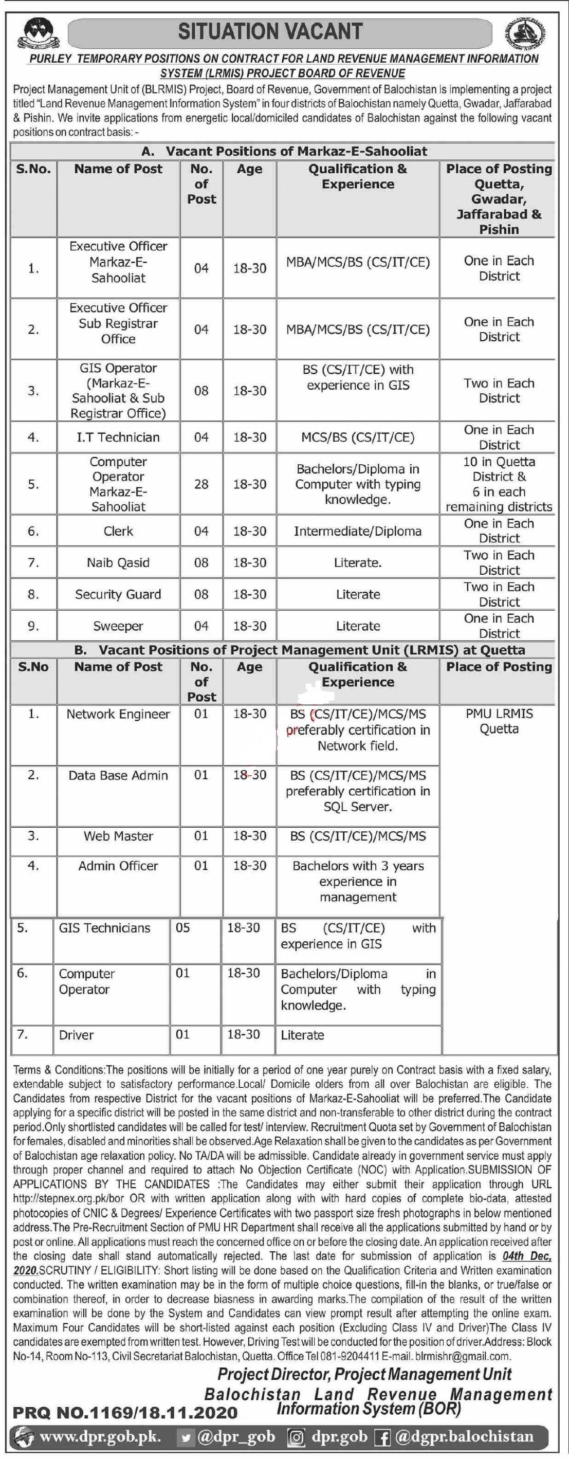 Land Revenue Management Information System LRMIS BoR Quetta Balochistan Jobs 2020