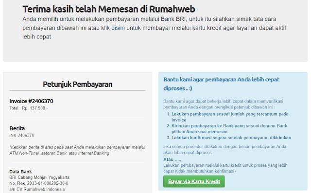 Halaman Konfirmasi Pembelian Domain RumahWeb