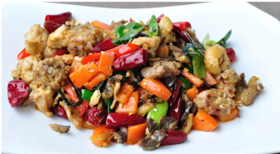 Chinese Recipes: Fried chicken cooked with brown, green & white peppercorns and oriental spices