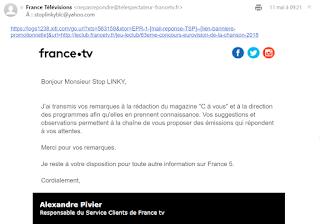 Copie du mail de réponse de France 5