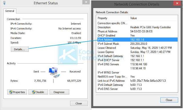 Klik details kemudian nanti akan muncul jendela baru dan Anda akan mendapatkan alamat IP di sana.