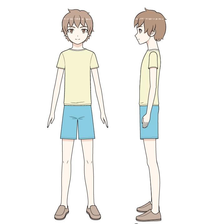 Anime anak laki-laki menggambar tubuh penuh