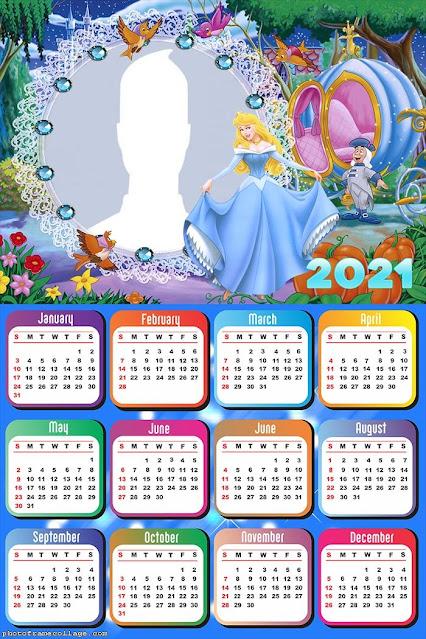 Cinderella: Free Printable 2021 Calendar.