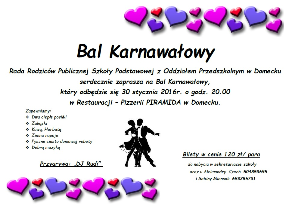 Sołectwo Domecko Zaproszenie Na Bal Karnawałowy