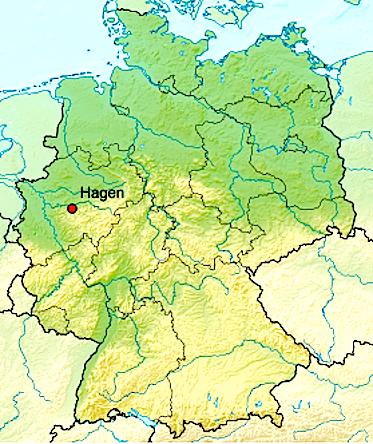 Хаген на карте Германии
