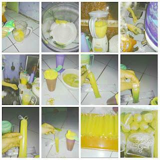 Proses pembuatan es lilin mangga