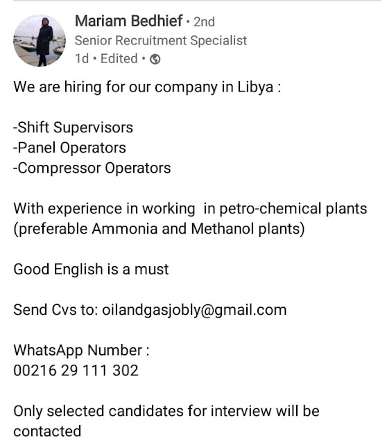 Latest Engineering Jobs In Libya