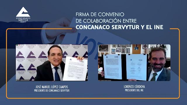 Firma Concanaco Servytur convenio con el INE para promover la participación ciudadana en las elecciones de este año.