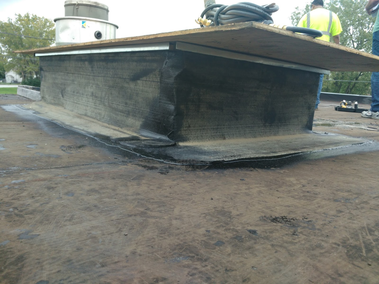 Roofer S View Rooftop Metal Curb For Busy Restaurant